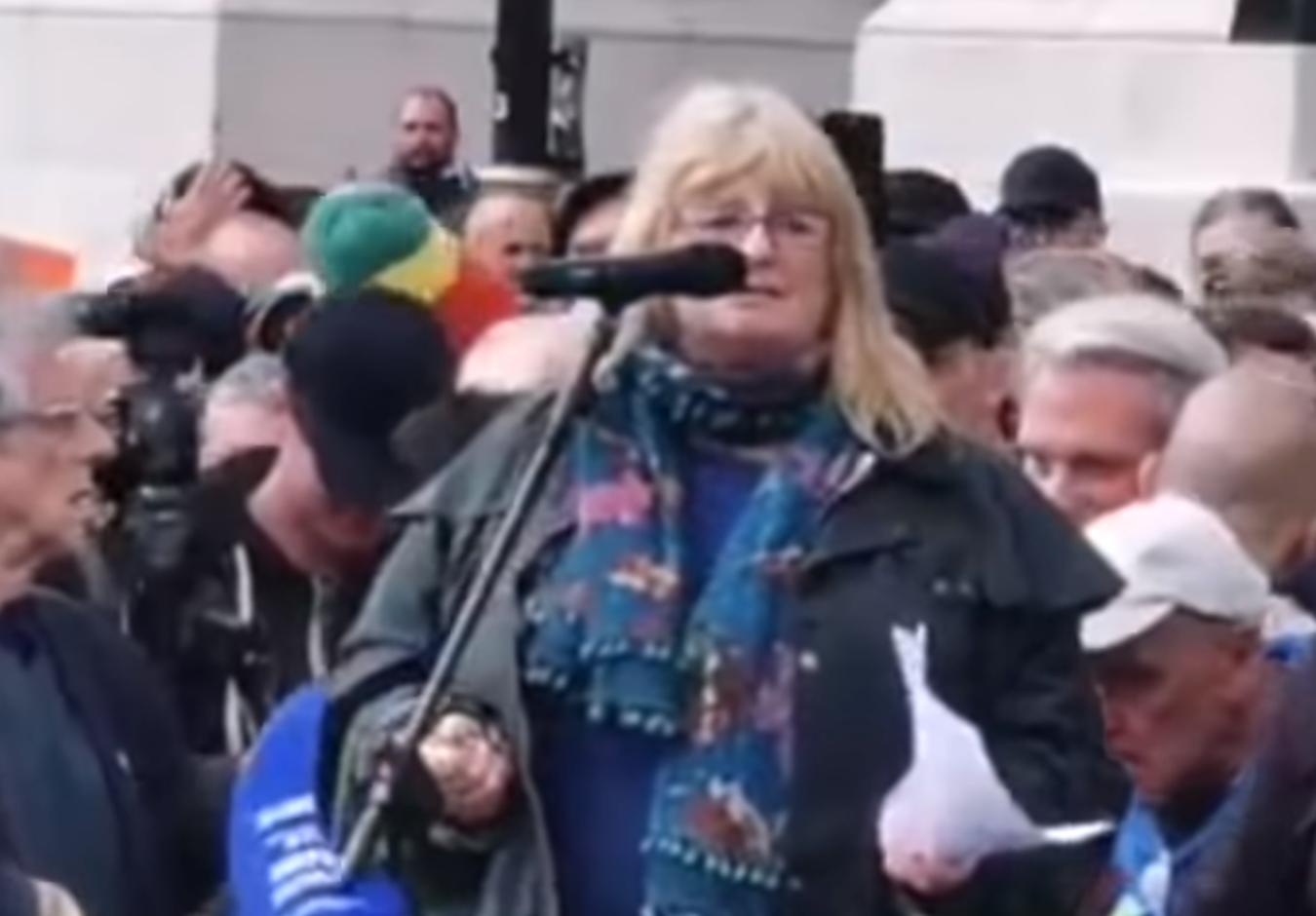 Sandi Adams Trafalgar Square Freedom Protest Sept 2020